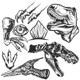 Conjunto de elementos de dinossauros para criar seus próprios emblemas, logotipos, etiquetas, pôsteres etc.