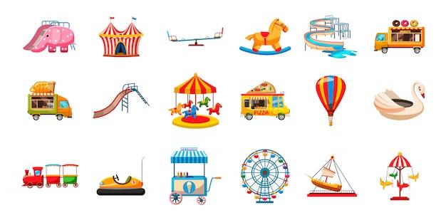 Conjunto de elementos de diversão de criança. caricatura, jogo, de, criança, divertimento