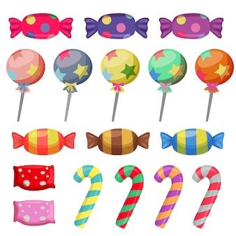 Conjunto de elementos de doces e doces