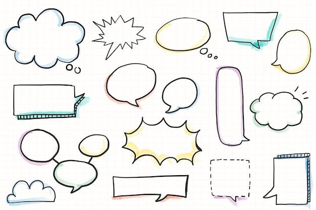 Conjunto de elementos de doodle de bolha de discurso desenhada à mão