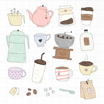 Conjunto de elementos de doodle de café fofo