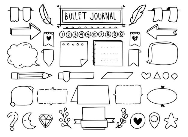 Conjunto de elementos de doodle de diário com marcadores fofo