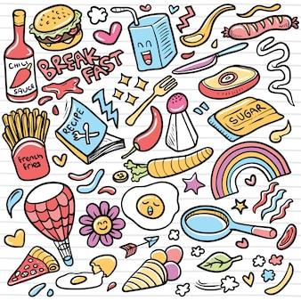 Conjunto de elementos de doodle de ilustração de bonito dos desenhos animados