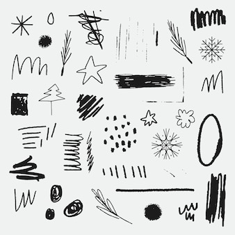 Conjunto de elementos de doodle de natal