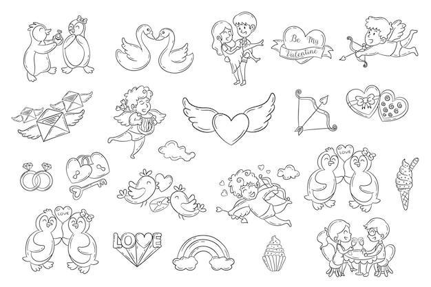 Conjunto de elementos de doodle fofos para o dia dos namorados