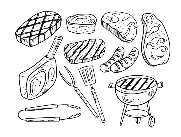 Conjunto de elementos de doodle para churrasco isolado no branco