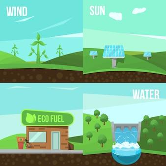 Conjunto de elementos de ecologia