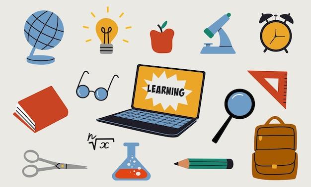 Conjunto de elementos de educação desenhado à mão