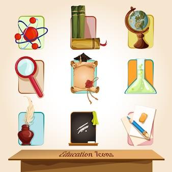 Conjunto de elementos de educação