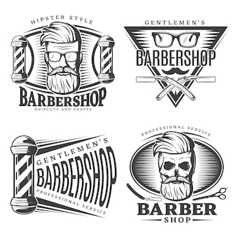 Conjunto de elementos de emblemas de barbearia