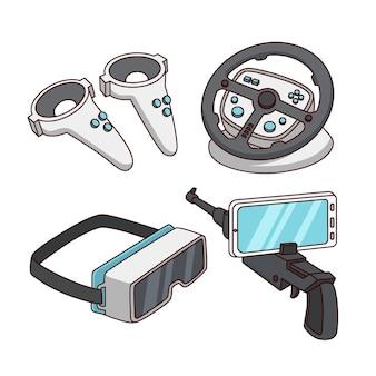 Conjunto de elementos de equipamento de realidade virtual