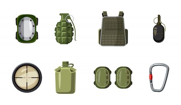 Conjunto de elementos de equipamento militar. caricatura, jogo, de, equipamento militar