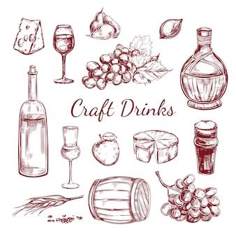Conjunto de elementos de esboço de bebidas artesanais