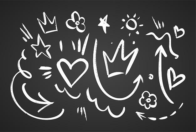 Conjunto de elementos de esboço preto desenhado à mão