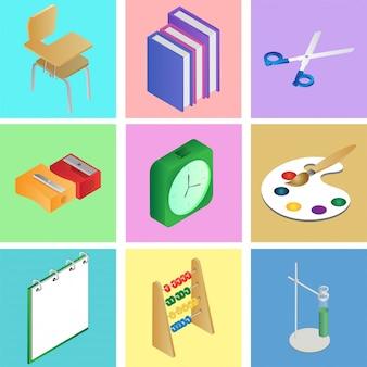 Conjunto de elementos de escola 3d ou suprimentos