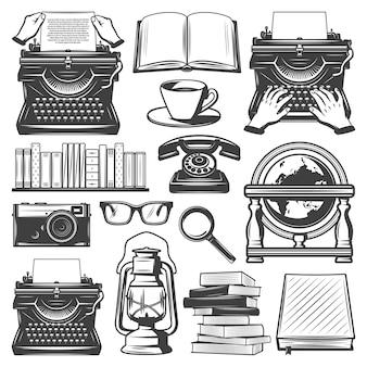 Conjunto de elementos de escritor vintage com livros de máquina de escrever óculos de café lupa lâmpada a óleo câmera notebook globo retro telefone isolado