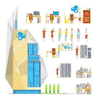 Conjunto de elementos de escritório de desenvolvimento de software isolado