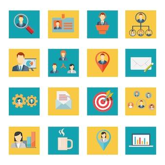 Conjunto de elementos de escritório e negócios