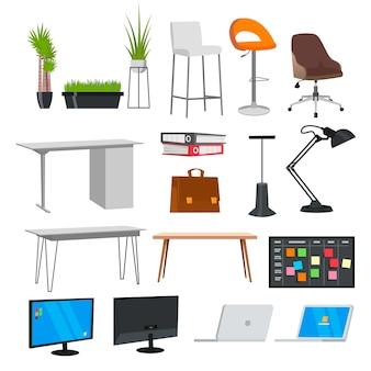 Conjunto de elementos de escritório planos para criar seus próprios emblemas, logotipos, etiquetas, pôsteres, etc.