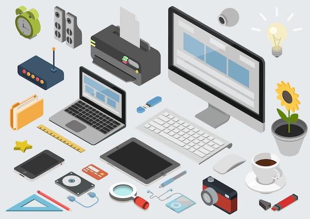 Conjunto de elementos de escritório