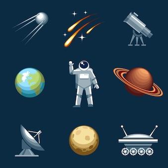 Conjunto de elementos de espaço e astronomia.
