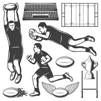 Conjunto de elementos de esporte de rúgbi vintage