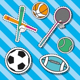 Conjunto de elementos de esporte para jogar decoração de patches