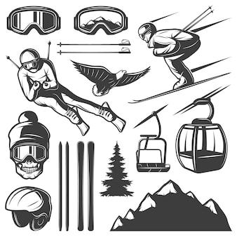 Conjunto de elementos de esqui nórdico Vetor grátis