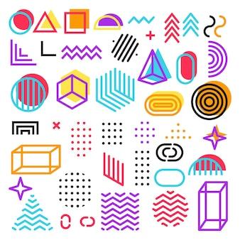 Conjunto de elementos de estilo retro memphis, gráfico retro funky, designs de tendências dos anos 90