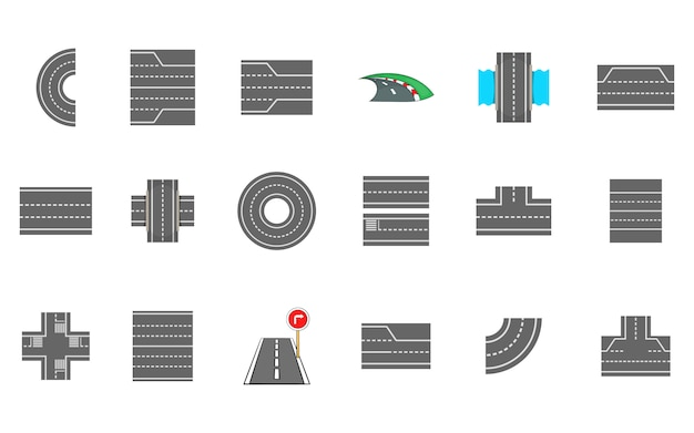 Conjunto de elementos de estradas. conjunto de desenhos animados de elementos do vetor de estradas