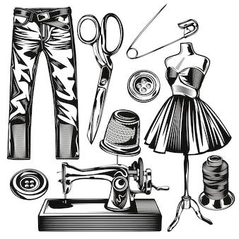 Conjunto de elementos de estúdio de costura