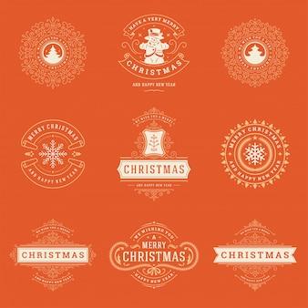 Conjunto de elementos de etiquetas e emblemas de natal