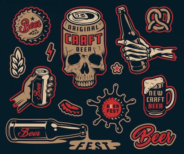 Conjunto de elementos de fabricação de cerveja colorida vintage