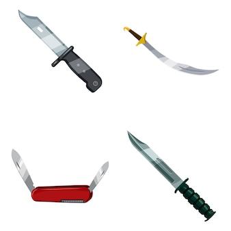 Conjunto de elementos de faca. caricatura, jogo, de, faca