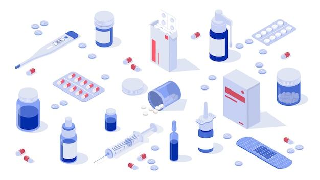 Conjunto de elementos de farmácia