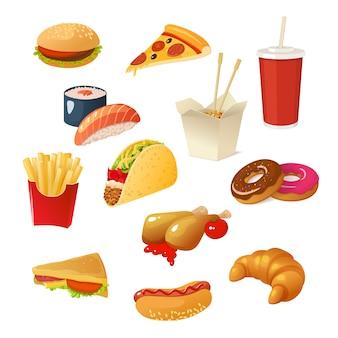 Conjunto de elementos de fast-food
