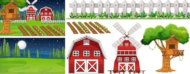 Conjunto de elementos de fazenda isolado com aroma de fazenda