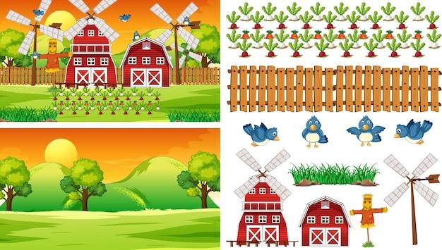 Conjunto de elementos de fazenda isolado com aroma de fazenda Vetor grátis