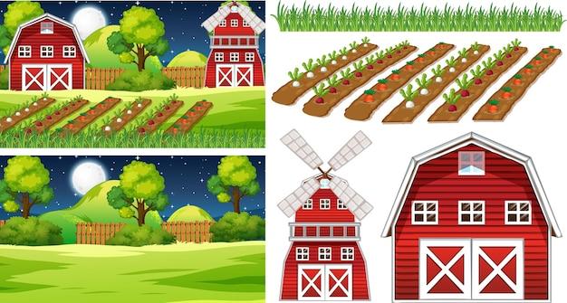 Conjunto de elementos de fazenda isolado com cena de fazenda