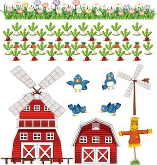 Conjunto de elementos de fazenda isolado no branco