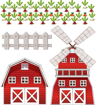 Conjunto de elementos de fazenda isolado no fundo branco