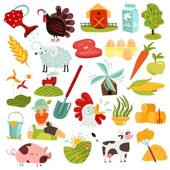 Conjunto de elementos de fazenda