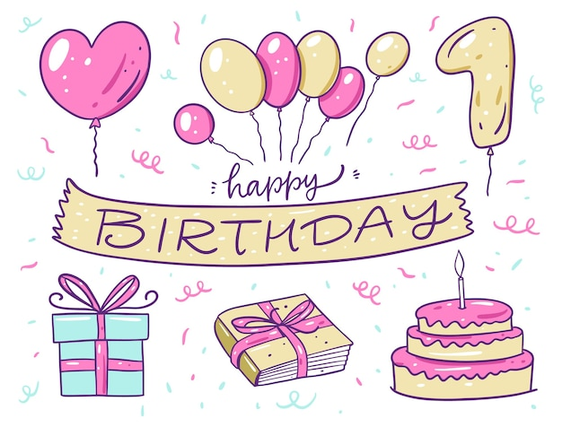 Conjunto de elementos de feliz aniversário. balões, bolo, livro e caixa de presente. no estilo cartoon. isolado no fundo branco. design para banner, pôster e web.