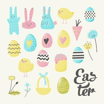 Conjunto de elementos de feliz páscoa com ovos e flores