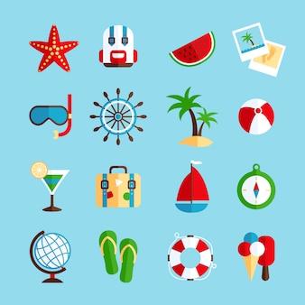Conjunto de elementos de férias de férias