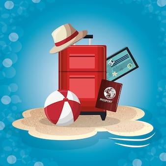Conjunto de elementos de férias de verão