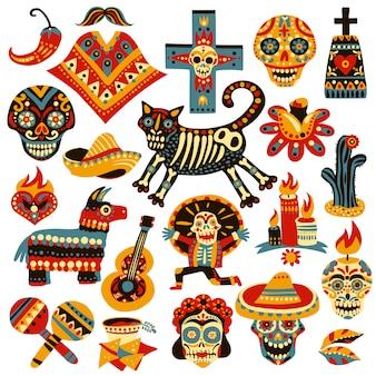 Conjunto de elementos de férias mexicanas