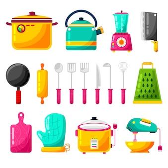 Conjunto de elementos de ferramentas de cozinha