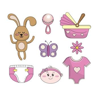 Conjunto de elementos de ferramentas do bebê chuveiro menina