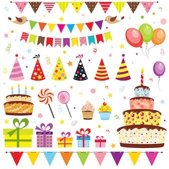 Conjunto de elementos de festa de aniversário isolado